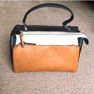 Justfab color block satchel purse tan black